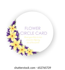 Circle greeting card with realistic flowers. Plumeria and Lavender flowers. Isolated illustration, vector EPS 10.