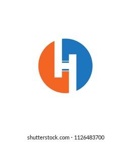 circle H letter concept logo vector