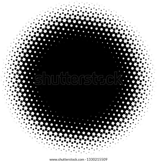 Circle half tone element over white. Circular fading circles outwards