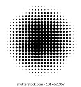 Circle in Halftone, Halftone Dot Pattern, Vector Illustration.