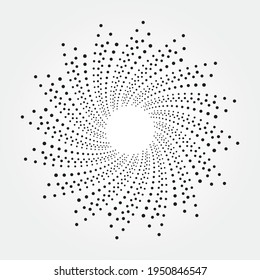 Circle halftone spiral background. Dots concentric circle. Spiral, swirl, twirl vector element. Circular and radial dots helix background. Halftone design element for various purposes.