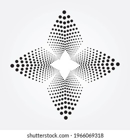 Circle halftone spiral element. Dots concentric circle frame. Swirl halftone object. Radial dots helix background. Halftone design element. Dotted circular frame logo.