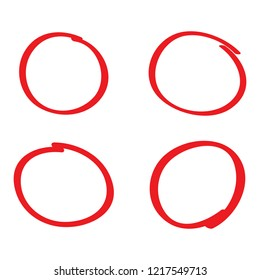 Circle hand drawn isolated on white background. Collection of different hand drawn red circles. For web site, logo and text check. Vector illustration