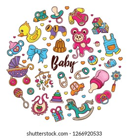 Circle Hand drawn set of Beby Gear doodles in Color vector