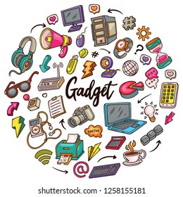 Circle Hand drawn set of Gadget doodles in Colors vector