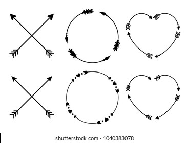 Circle and heart arrow frames for monograms. Criss cross hipster arrows. Arrows in boho style. Tribal arrows set. Vector collection