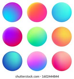 Circle holographic gradients set, sphere buttons. Multicolor neon hologram fluid circle gradients, colorful soft round buttons, vivid blurred color spheres flat set.