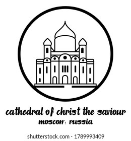 Circle Icon Cathedral of Christ the Saviour. vector illustration