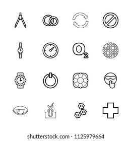 Circle icon. collection of 16 circle outline icons such as gear, compass, cool emot, o2 oxygen, medical cross, prohibited. editable circle icons for web and mobile.