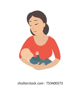 Circle icon depicting mother breastfeeding her young child. Breastfeed. Vector illustration isolated on white background