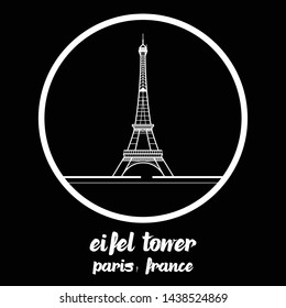 Circle Icon eifel tower paris france. vector illustration. eps10