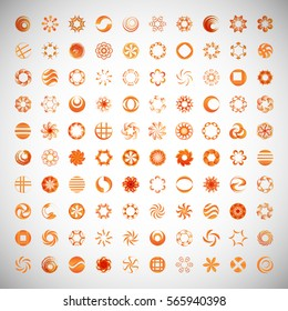Circle Icons Set-Isolated.Vector Illustration,Graphic Design.Collection Of Abstract Decorative Elements.For App,Web Site,Print,Presentation Templates,Mobile Applications And Promotional Materials