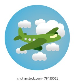 circle illustration of airplane in clouds