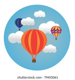 circle illustration of balloons in clouds