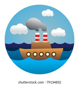 circle illustration of boat in waves