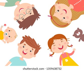 Circle illustration with happy family. Father, mother and their three children. Vector illustration in simple hand drawn style. Can be used for advertisement, card, invitation, poster.