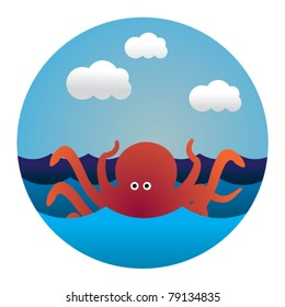 circle illustration of octopus in waves