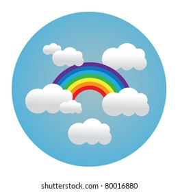 circle illustration of rainbow in clouds