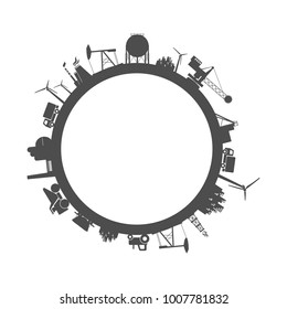 Circle with industry relative silhouettes. Objects located around the circle. Industrial design background. Field for text in the center.
