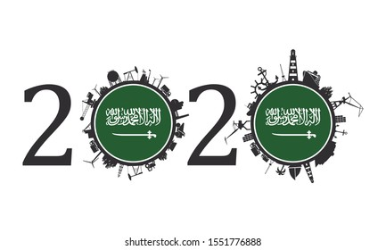 Circle with industry and sea shipping silhouettes. Objects located around the circle. Industrial design background. 2020 year number. Flag of the Saudi Arabia