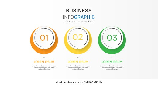 Circle infographic design template with 3 options or steps. Can be used for process, presentations, layout, banner,info graph. Vector Illustration.