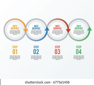 circle infographic four step, option, process with looping arrows vector