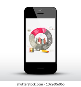 Circle Infographic Layout on Mobile Phone Screen. Vector Business Application on Cellphone Screen.