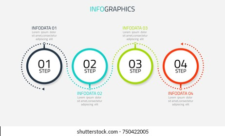 Circle infographic number options. Timeline design with lines can be used for workflow layout, diagram, presentation, web design. Business concept with 4 options, steps or processes.