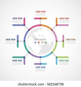 circle the infographic report about the template made of thick lines eight options