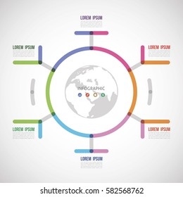 circle the infographic report about the template made of thick lines six options