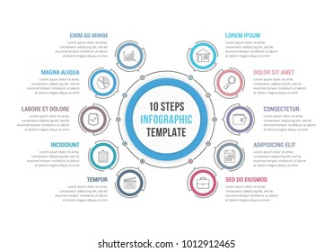 Circle infographic template with 10 steps or options, workflow or process diagram, vector eps10 illustration