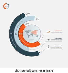 Circle infographic template with 3 options. Business concept. Vector illustration.