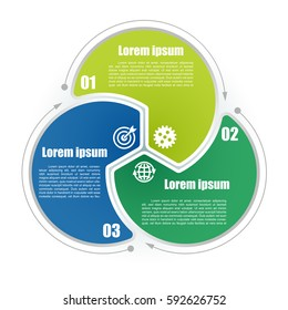 Circle infographic template 3 steps. Colorful parts with business icons and numbers. For presentation and design concept. Vector illustration.