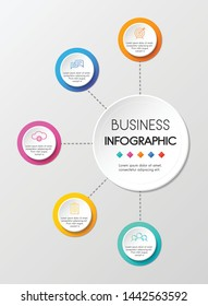 Circle infographic template with 5 options. Vector