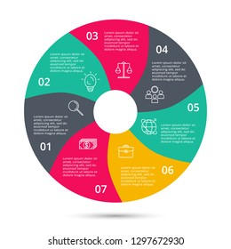 Circle for infographic. Template for diagram, graph, presentation and round chart. Business concept with 7 options, parts, steps or processes.