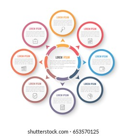 Circle infographic template with eight elements, steps or options, workflow or process diagram, data vizualization, vector eps10 illustration