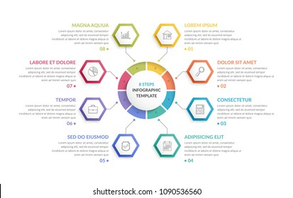 Circle infographic template with eight hexagons, can be used as steps or options, process chart, creative business infographics, vector eps10 illustration