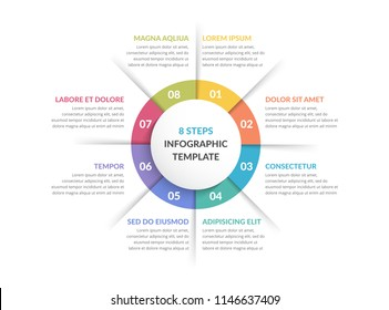 Circle infographic template with eight steps or options, process chart, vector eps10 illustration