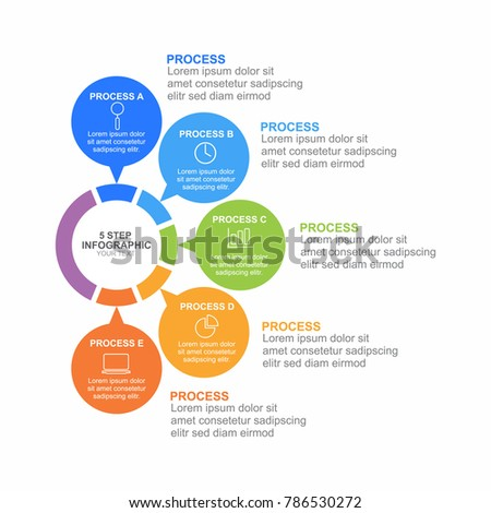 circle infographic template five process step stock vector royalty