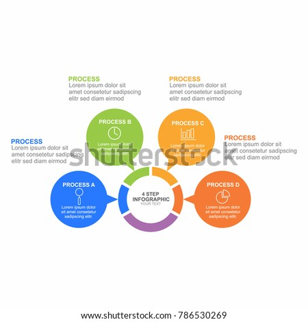 circle infographic template four process step stock vector royalty
