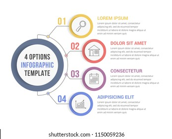 Circle infographic template with four steps or options, workflow or process diagram, vector eps10 illustration