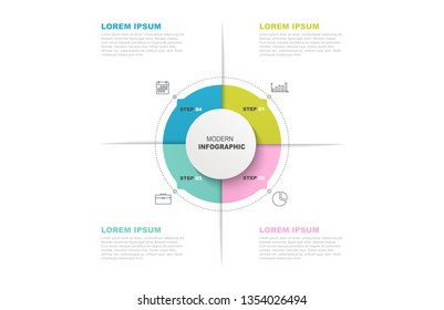 Circle infographic template with icons and 4 steps or options. Business concept, workflow layout, info graph, flowchart.