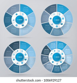 circle infographic template pie charts blue with 6, 7, 8, 9 steps