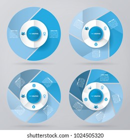 circle infographic template pie charts blue with 2, 3, 4, 5 steps