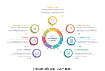 Circle infographic template with round puzzle with seven steps or options, process chart, creative business infographics, vector eps10 illustration