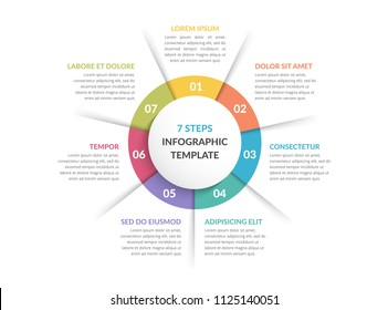 Circle infographic template with seven steps or options, process chart, vector eps10 illustration