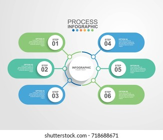 Circle infographic template six option for business presentation