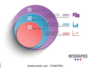 Circle infographic template three option, process or step for business presentation