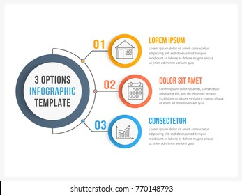 Circle infographic template with three steps or options, workflow or process diagram, vector eps10 illustration