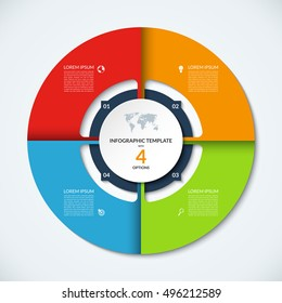 Circle infographic template. Vector layout with 4 options. Can be used for cycle diagram, round chart, graph, annual report, presentation, web design, step by step infographics